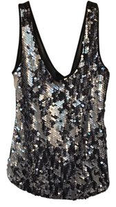 Elliatt Sequin Semi Sheer Top chrome