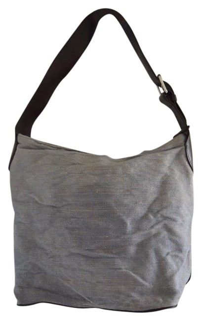 Item - Light Blue/Gray Canvas and Leather Hobo Bag