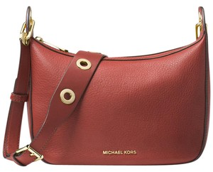Michael Kors Raven Medium Pebbled Leather Grommets Brick Messenger Bag
