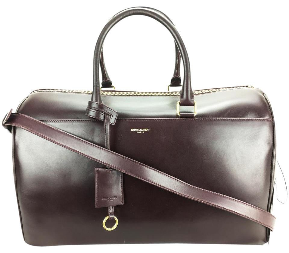 2c91363a74ea Saint Laurent Ysl 322050 Ysl Duffle Ysl Leather Satchel in Burgundy Image  9. 12345678910
