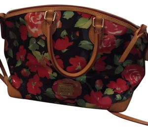c68df978ad45 Dooney   Bourke Satchel in black with red and green print