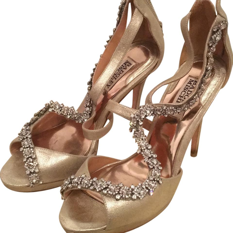 9e427970e63 Badgley Mischka Bride Gold with Crystals Bridal Formal Shoes. Size  US 7.5  Regular (M ...