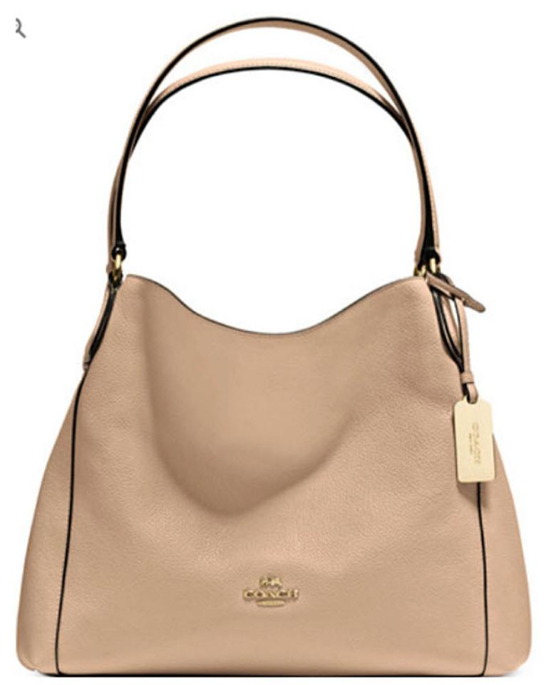 Coach Edie Large Refined 33547 33728 Nude Tan Leather Shoulder Bag ... 75f3de965e2b3