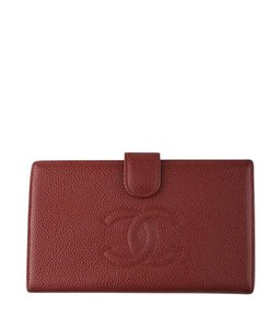 Chanel Chanel Red Caviar Leather Snap Wallet