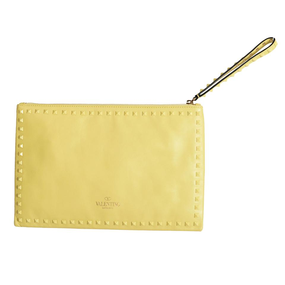 a669110235 Valentino Women's Rockstud Wristlet Clut Yellow Leather Clutch - Tradesy