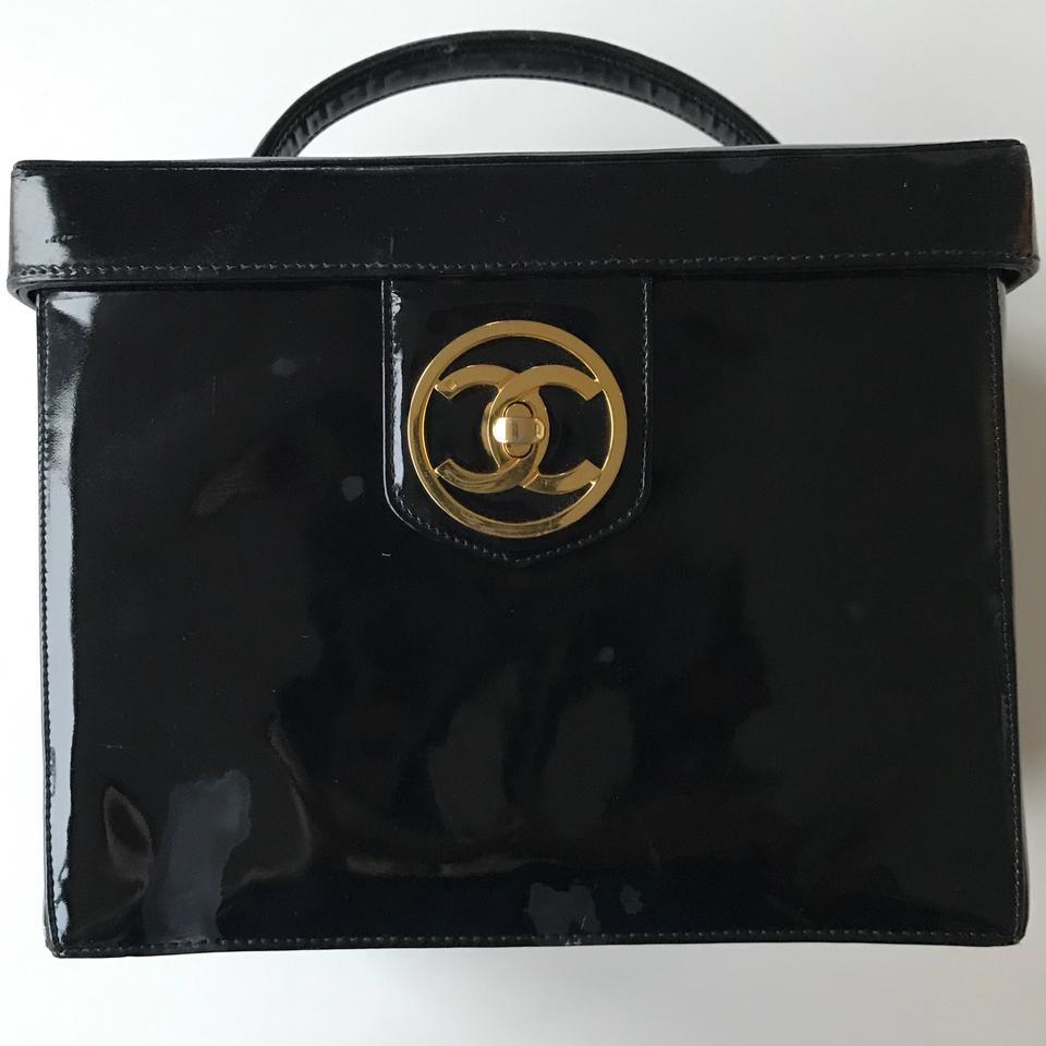 08aec106fdce Chanel W Code Jumbo Cc Logo Cosmetic Case Train Vanity Make Up Black Patent  Leather Satchel