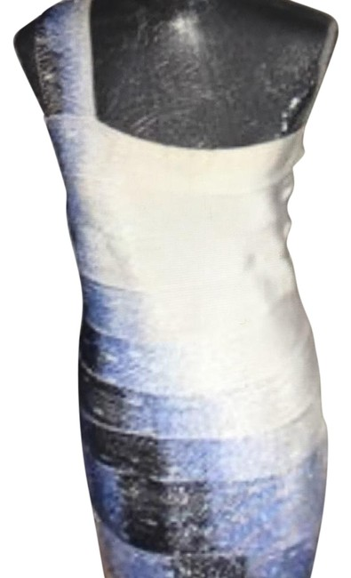 Item - White with Blue Mid-length Cocktail Dress Size 0 (XS)