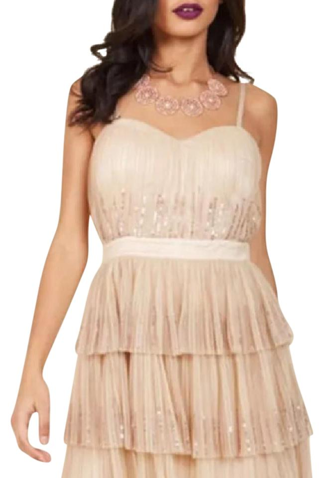 Modcloth Champagne Inventive Occasion Short Cocktail Dress Size 16 ...