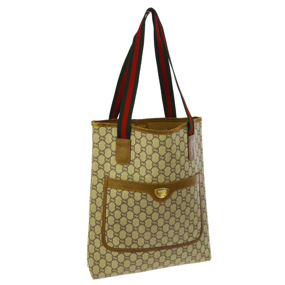 c3ef0a38abe Gucci Sherry Line Gg Plus Tote Brown Pvc Leather Shoulder Bag - Tradesy