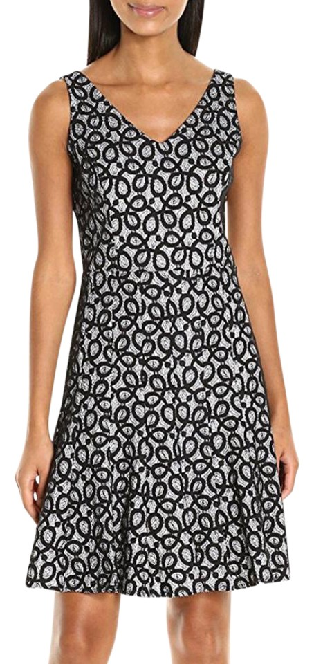 6df36d76d3ad Nine West Black Ivory Scroll Lace Fit and Flare Mid-length Cocktail ...