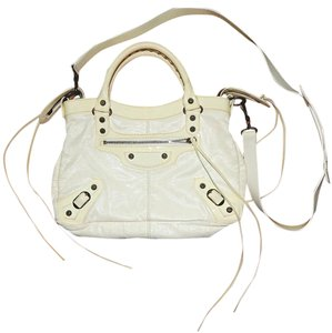 Balenciaga Leather Patent Leather Studded Cross Body Classic Satchel in Off-white