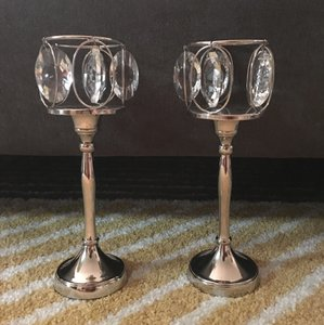 Set Of 2 Crystal Chandelier Candle Holders