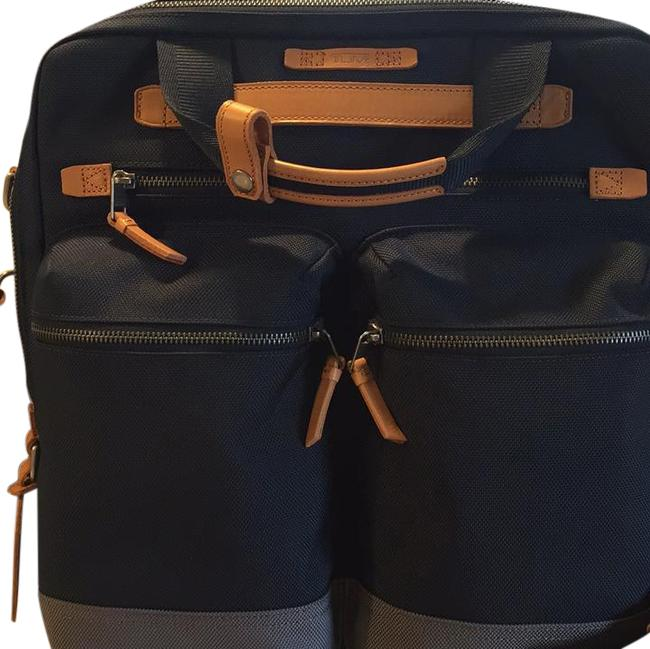 Item - Ashwin Tote Dark Blue Heavy Polyester with Leather Trim Laptop Bag