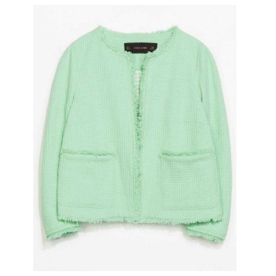 e17df609 Zara Textured Pastel Chic Cool green Jacket Image 8. 123456789