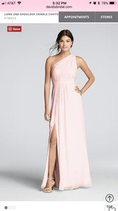 David's Bridal Petal Chiffon Long One-shoulder Crinkle Formal Bridesmaid/Mob Dress Size 10 (M)