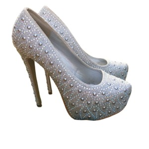 Lasonia Shoes Party Ball Gown Silver White Pumps