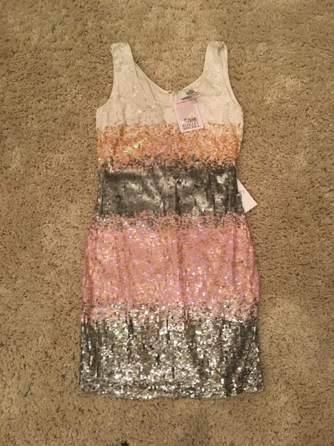 Item - White Pink and Silver Sequins Short Night Out Dress Size 4 (S)