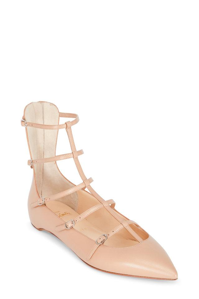 Flats Christian 38 Cage 7 Toerless 5 Leather Louboutin Nude wf7ROfxqH8