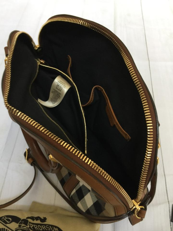 62718d572b39 Burberry And Sartorial House Check Bowling - Brown Ochre Cotton  Twill Leather Satchel - Tradesy