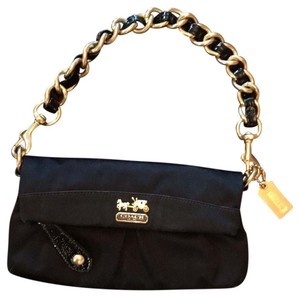 Coach Shoulder Satin Gold Chain black Clutch