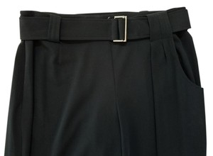 Sarah Pacini Belted Wide Leg Asymmetric Trouser Pants black