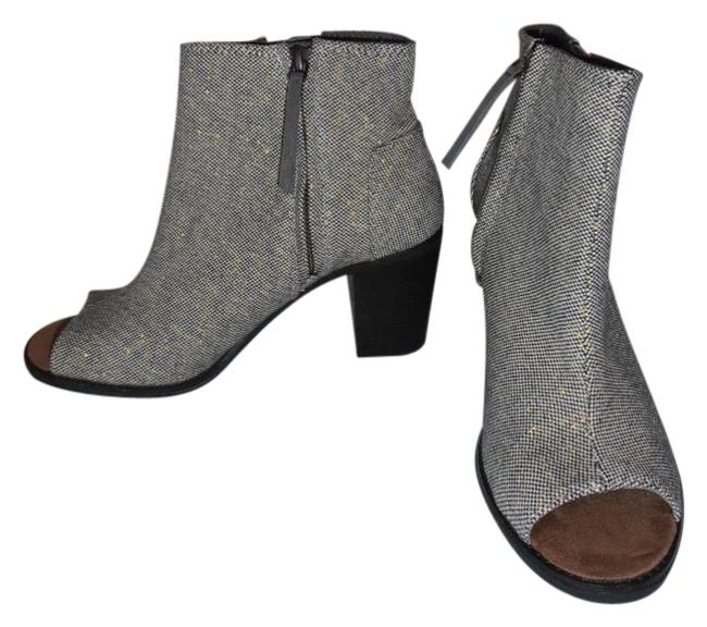 Item - Black and Gold Heels Ankle Open Toe New Fabric Boots/Booties Size US 8.5 Regular (M, B)