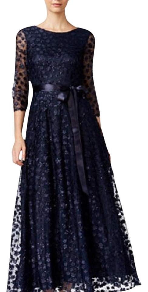 Tahari Navy Lace A-line Gown Long Formal Dress Size 8 (M) - Tradesy
