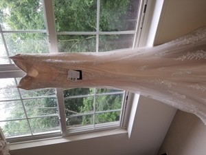Maggie Sottero Ivory Over Light Champagne/Pewter Accent Satin with Lace Overlay Nola Sexy Wedding Dress Size 4 (S)