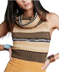 7acccccec1a6 Free People Brown Carly Linen Sleeveless Cowl Neck Stripe S Tank Top Cami