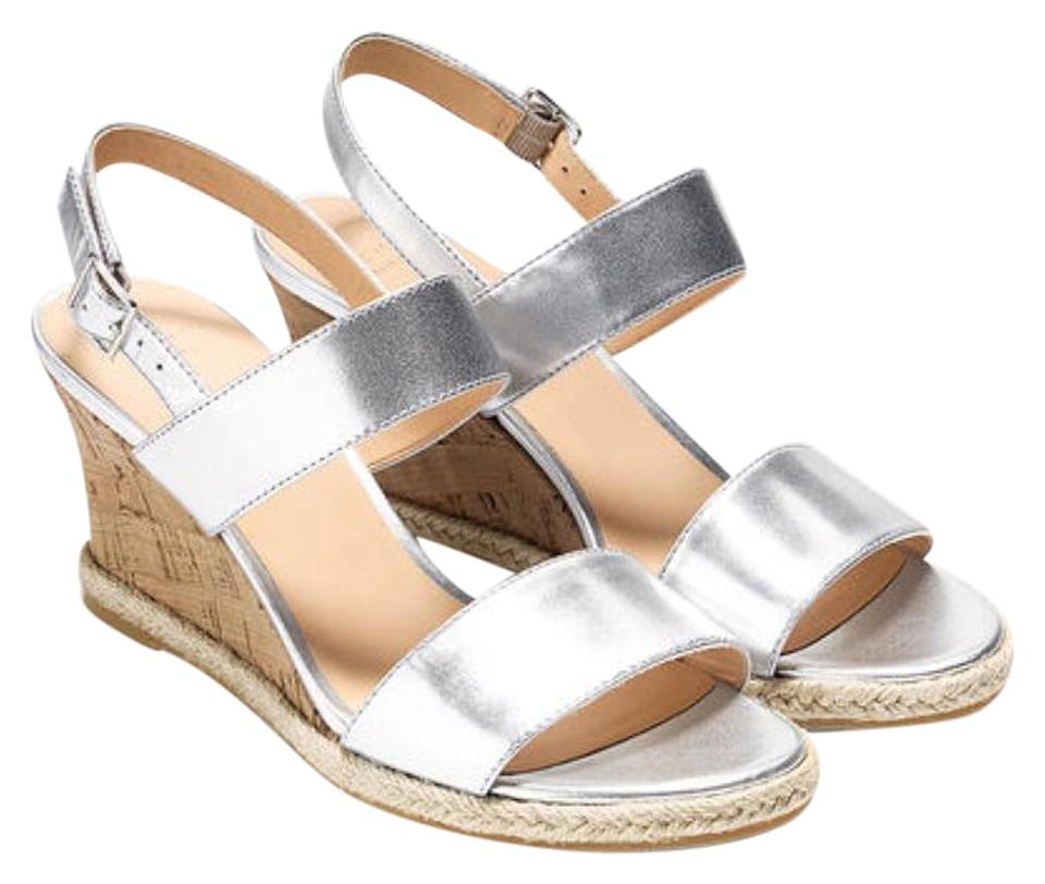 Cole Mirror Haan Silver Lane In Mirror Cole Finish Raffia Detail Cork Heel Wedges 1beb4d