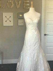 Wtoo Oatmeal Lace Motif Tulle Heavy Satin Lining Christy Wedding Dress Size 8 (M)