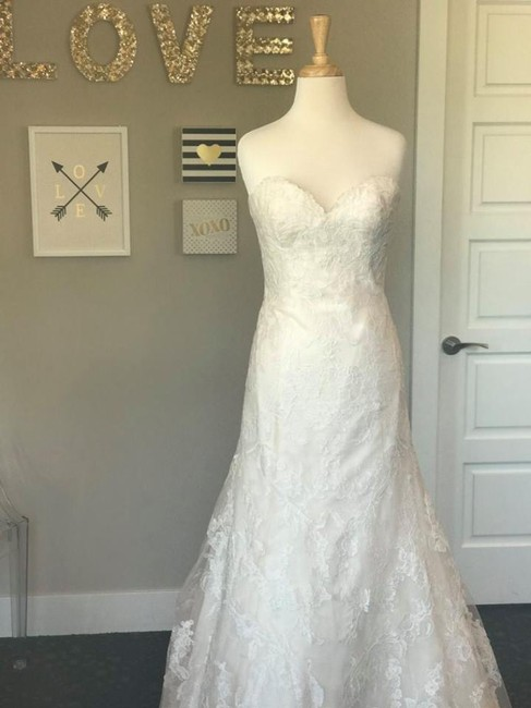 Wtoo Oatmeal Lace Motif Tulle Heavy Satin Lining Christy Wedding Dress Size 8 (M) Wtoo Oatmeal Lace Motif Tulle Heavy Satin Lining Christy Wedding Dress Size 8 (M) Image 1