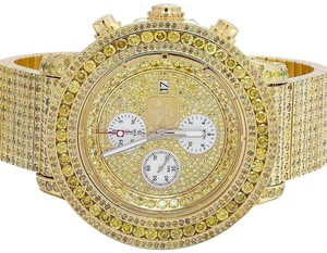 Breitling Mens A13370 Super Avenger XL Gold Plated Canary Diamond Watch 24.75 Ct