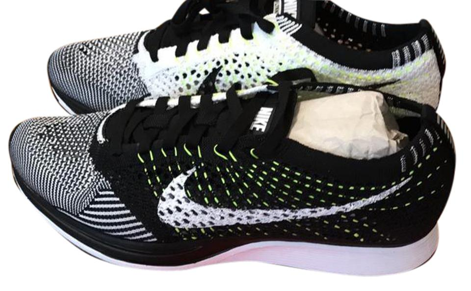 7e2a246573afe Nike Black White Neon New In Box Flyknit Racer 7 Sneakers Size US ...