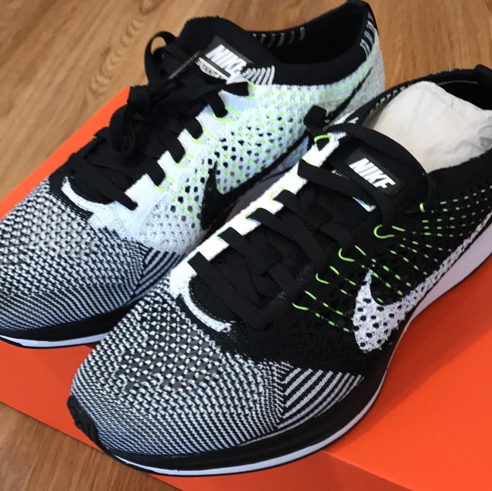 2d740531db5e3 Nike Black White Neon New In Box Flyknit Racer 7 Sneakers Size US ...