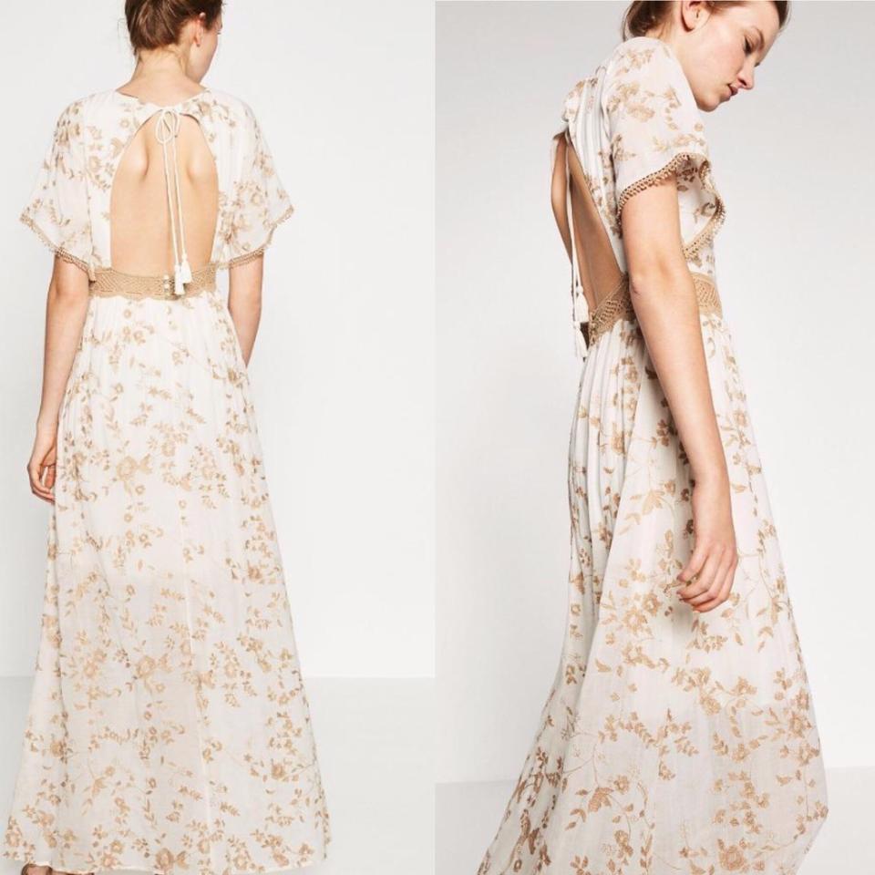 dad6beda5f4 Zara Ivory Floral Embroidered Romantic Lace Crochet Open Back Long ...