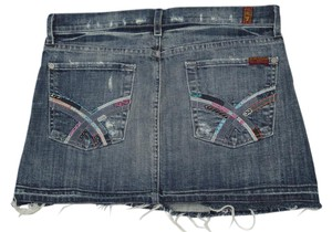 7 For All Mankind Embroidered Pockets Studded Pockets Destroyed Distressed Cut Off Frayed Mini Skirt Blue