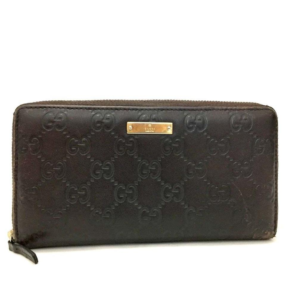 1dace1ee822 Gucci Gucci Signature GG Monogram Guccissima Leather Java Brown Long Wallet  Image 0 ...