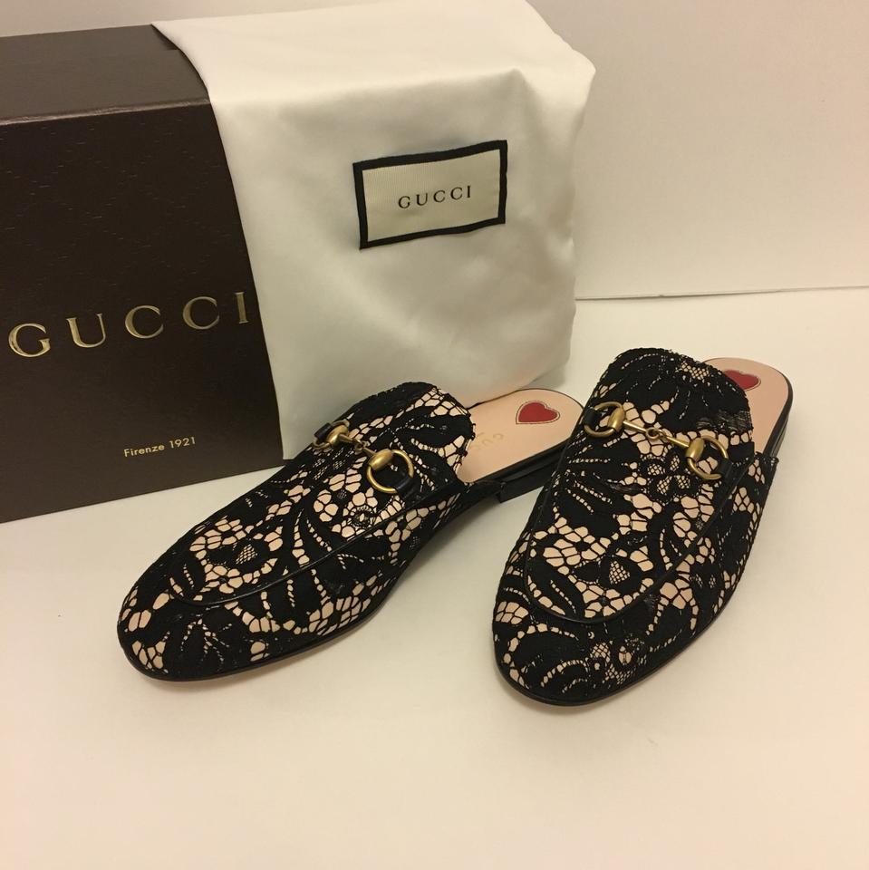 30b23854103 Gucci Black Nude Princetown Lace Mules Slides Size US 7.5 Regular (M ...