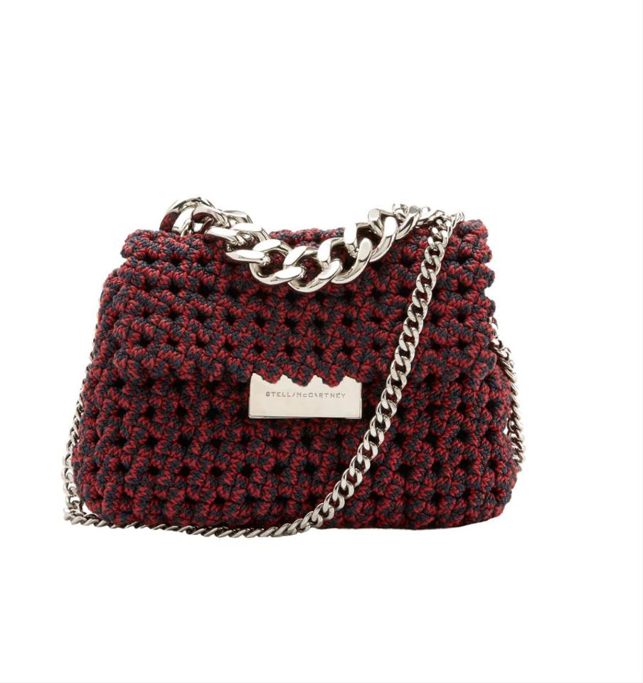 fe35b2acb4 Stella McCartney Small Becks Weaved Shoulder Red and Navy Woven Tote ...