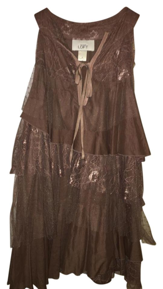 843fa2d555e1a2 Ann Taylor LOFT Brown Tiered Lace Sleeveless Boho Blouse Size 8 (M ...