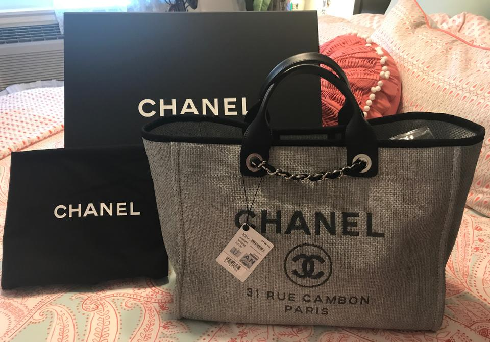 be2764a1790e Chanel Shopping Bag Deauville 2017 Large - Grey and Black Raffia ...