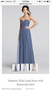 David's Bridal Steel Blue F15782 Formal Bridesmaid/Mob Dress Size 4 (S)