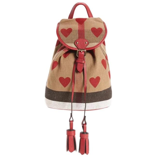 Item - Hearts & Check Tan/Red Cotton Backpack