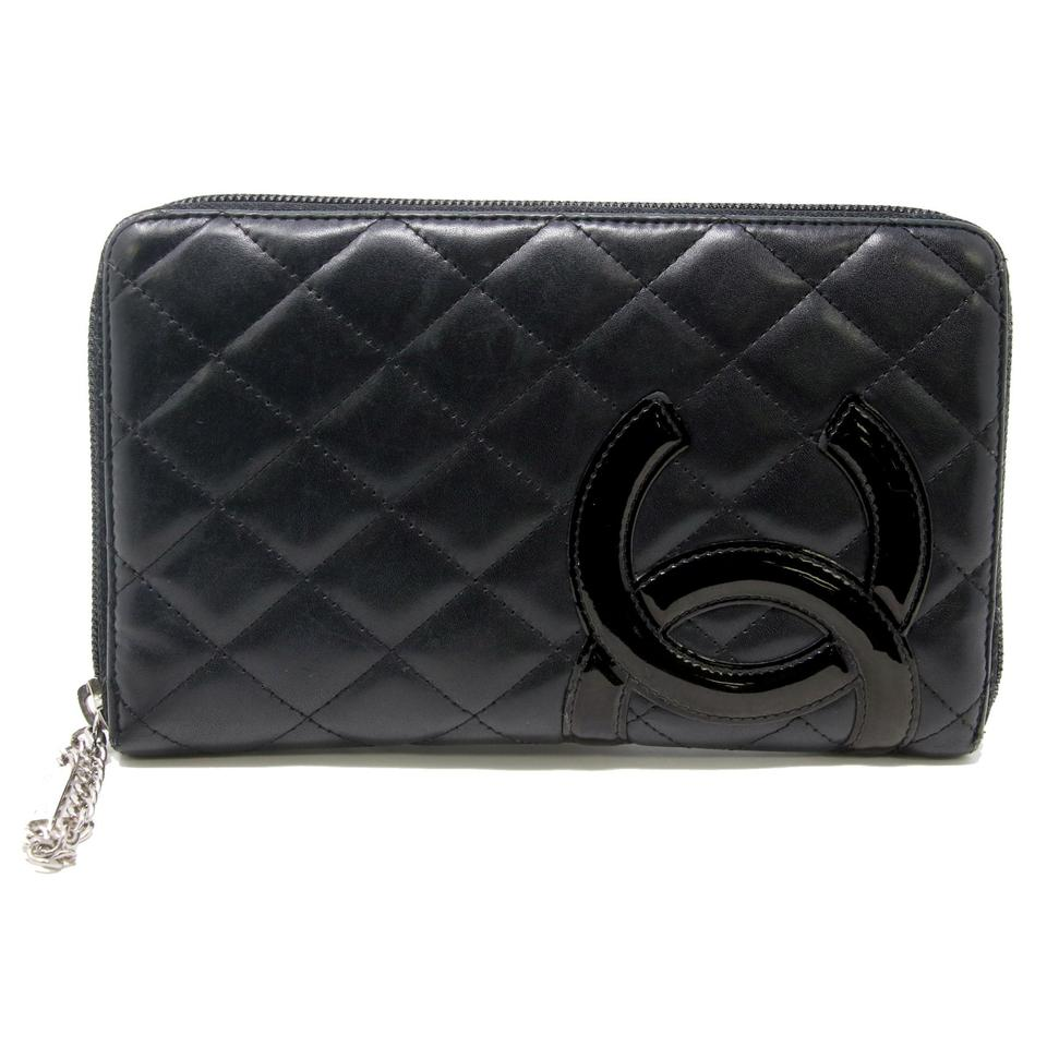 7d6cb9d508f0 Chanel Black Long Cambon Big Cc Quilted Zip Around Lambskin Wallet ...