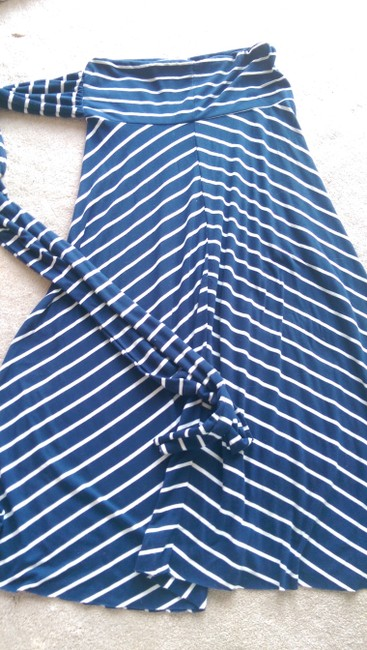 Lily Bleu Maxi Skirt Navy Blue and White