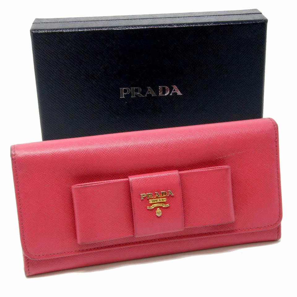 183b7a3b86de87 Prada Pink Long Saffiano Ribbon Logo Leather Bifold Wallet - Tradesy