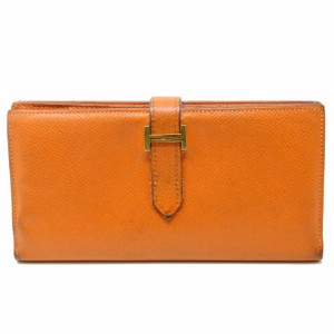 Hermès Hermes Signature Orange Leather Beant Big H Logo Bifold Gold