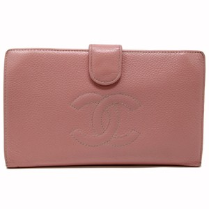 c88251702a6 Chanel Signature Caviar Leather Kissloc Pink CC Logo Bifold Long Check  Wallet