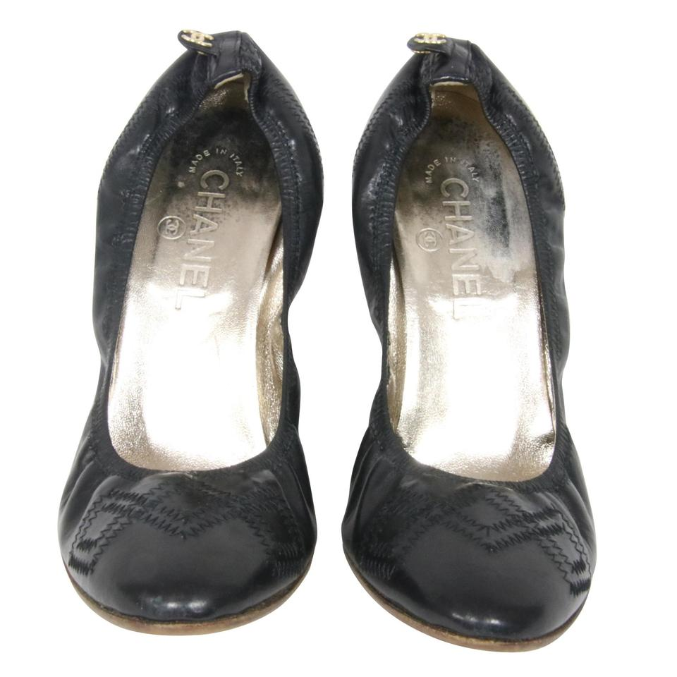 59ad87be08d Chanel Black Classic Leather Stitched Leather Elastic Wooden Pumps ...